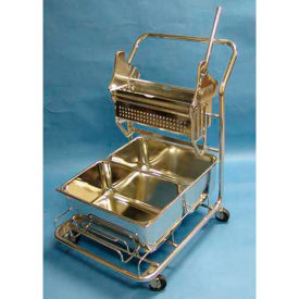"""Stainless Steel Trolley W/ 18"""" Wringer And (2) 29-Quart Buckets For Cleanrooms by"""