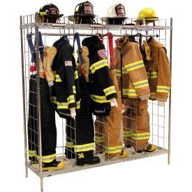 "Ready Rack® Freestanding Gear Storage Rack Locker, Single Sided, Four 18"" Sections, Chrome"