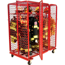 "Red Rack™ Mobile Gear Storage Rack Locker, Double Sided, Six 24"" Sections w/Security Opt., Red"