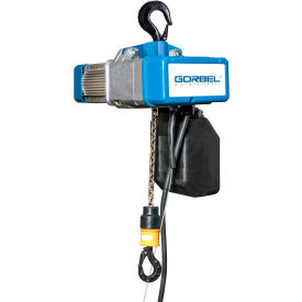 Gorbel® Electric Chain Hoist W/ Chain Container 1000 Lbs. Cap. Single Speed 15' Lift 230V 3/5HP
