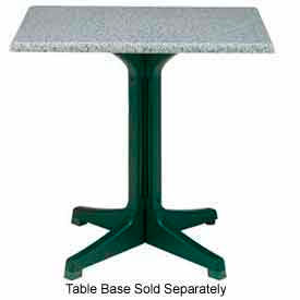 "Grosfillex 24"" x 32"" Outdoor Table Top Only No Umbrella Hole Granite Green by"