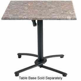 "Grosfillex 32"" Square Outdoor Table Top Only No Umbrella Hole Tokyo Stone by"