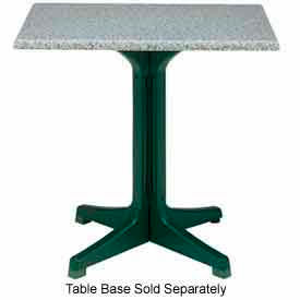 "Grosfillex 32"" Square Outdoor Table Top Only No Umbrella Hole Granite Green by"