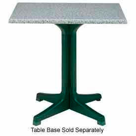 "Grosfillex 48"" x 32"" Outdoor Table Top Only with Umbrella Hole Granite Green by"
