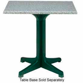 "Grosfillex 36"" Square Outdoor Table Top Only with Umbrella Hole Granite Green by"