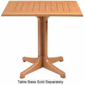 "Grosfillex 36"" Square Outdoor Table Top Only No Umbrella Hole Teak Décor by"