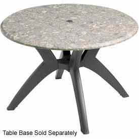 "Grosfillex 42"" Round Outdoor Table Top Only with Umbrella Hole Tokyo Stone by"