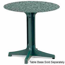 """Grosfillex® 42"""" Round Outdoor Table Top Only with Umbrella Hole - Granite Green"""