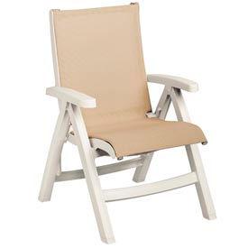 Grosfillex® Belize Midback Folding Sling Chair - Khaki Sling/White Frame (Sold in Pk. Qty 2) - Pkg Qty 2