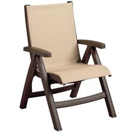 Grosfillex® Belize Midback Folding Sling Chair - Khaki Sling/Bronze Frame (Sold in Pk. Qty 2) - Pkg Qty 2