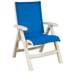 Grosfillex® Belize Midback Folding Sling Chair - Blue Sling/White Frame