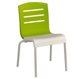 Grosfillex® Domino Chair, Fern Green / White 4 Pack