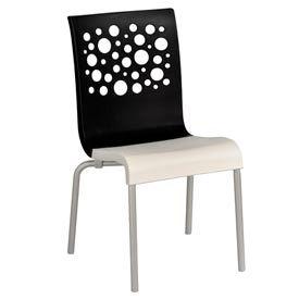 Grosfillex® Tempo Chair, Black / White  4 Pack - Pkg Qty 4