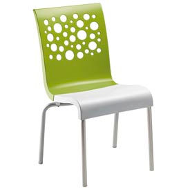 Grosfillex® Tempo Chair, Fern Green / White 4 Pack - Pkg Qty 4