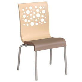 Grosfillex® Tempo Chair, Beige / Taupe 4 Pack - Pkg Qty 4