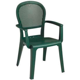 Grosfillex Seville Highback Outdoor Armchair Metal Green (Sold in Pk. Count 4) Package... by