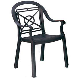 Grosfillex® Victoria Dining Outdoor Armchair - Charcoal (Sold in Pk. Qty 4) - Pkg Qty 4