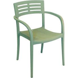 Grosfillex® Outdoor Stacking Armchair - Sage Green - Vogue Series - Pkg Qty 4