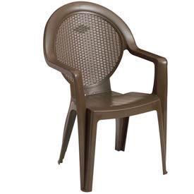 Grosfillex® Trinidad Stacking Outdoor Armchair - Bronze Mist (Sold in Pk. Qty 24) - Pkg Qty 24
