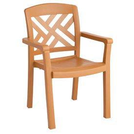 Grosfillex® Sanibel Outdoor Armchair - Teakwood (Sold in Pk. Qty 4) - Pkg Qty 4