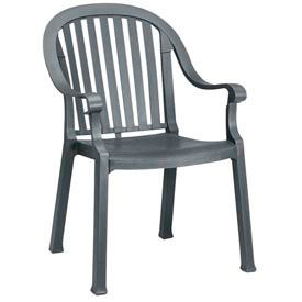 Grosfillex® Colombo Dining Outdoor Armchair - Charcoal (Sold in Pk. Qty 4) - Pkg Qty 4
