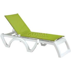 Grosfillex® Calypso Sling Chaise - Fern Green Sling / White Frame (Sold in Pk. Qty 2) - Pkg Qty 2