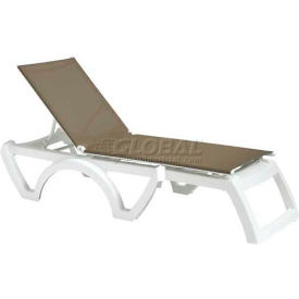 Grosfillex® Calypso Sling Chaise - Taupe Sling / White Frame (Sold in Pk. Qty 2) - Pkg Qty 2