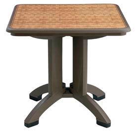 "Grosfillex® Havana 32"" Square Outdoor Table - Espresso - Pkg Qty 2"