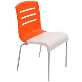 Grosfillex® Domino Chair, Orange / White 12 Pack - Pkg Qty 12