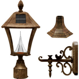 Click here to buy Gama Sonic 106333 Baytown Solar LED Outdoor Light, Post/Wall Mount, Weathered Bronze.