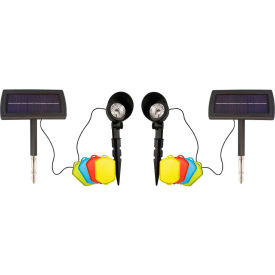 Gama Sonic 150201 Solar Spotlight with Color Inserts, Black, Set of 2