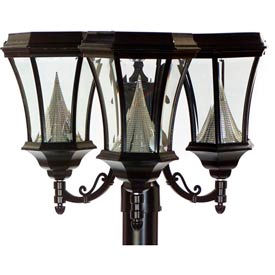 "Gama Sonic GS-94F3 Victorian Solar Lamp - Triple Lamp - 3"" Fitter Mount - Black"