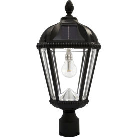 "Gama Sonic GS-98B-F-BLK Royal Solar Powered Lamp w/ Solar Light Bulb, 3"" Fitter Post Light, Black"