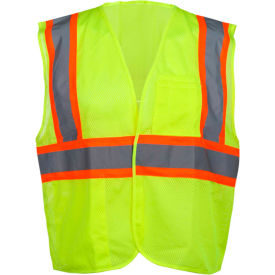 GSS Safety 1003 Standard Class 2 Mesh Hook & Loop Safety Vest, Lime, Medium