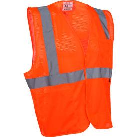 GSS Safety 1004 Standard Class 2 Mesh Hook & Loop Safety Vest, Orange, Large by
