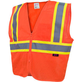 GSS Safety 1006 Standard Class 2 Two Tone Mesh Zipper Safety Vest, Orange, Large by