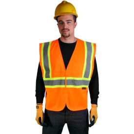 GSS Safety 1008 Standard Class 2 Two Tone Mesh Hook & Loop Safety Vest, Orange, Large by