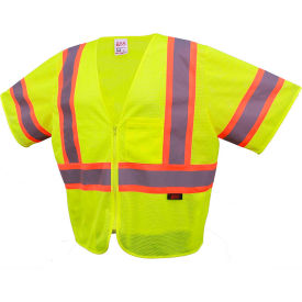 GSS Safety 2005 Standard Class 3 Two Tone Mesh Zipper Safety Vest, Lime, 2XL by