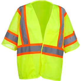 GSS Safety 2007 Standard Class 3 Two Tone Mesh Hook & Loop Safety Vest, Lime, 2XL by