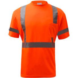 GSS Safety 5008, Class 3, Hi-Viz Moisture Wicking Birdseye Short Sleeve T-Shirt, Orange, L Tall