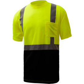 GSS Safety 5111, Class 2, Microfiber Birdseye Short Sleeve T-Shirt W/ Black Bottom, Lime, XL Tall