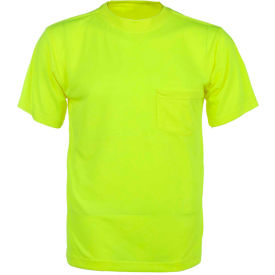 GSS Safety 5501 Moisture Wicking Short Sleeve Safety T-Shirt with Chest Pocket - Lime, Large