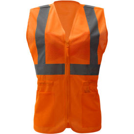GSS Safety 7804, Class 2, Ladies Hi-Vis Safety Vest, Orange, S/M