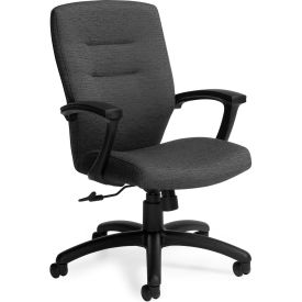 Global™ Synopsis Medium Back Chair, Grey Fabric Upholstery