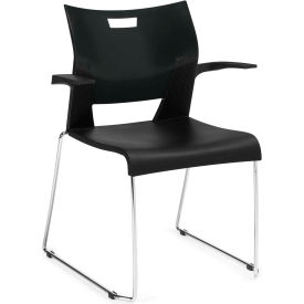 Global™ Duet Stack Chair with arms, Black Polypropylene Plastic, 4/Pk - Pkg Qty 4