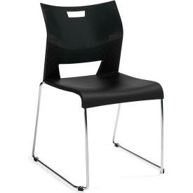 Global™ Duet Stack Chair Armless Black Polypropylene Plastic - Pkg Qty 4