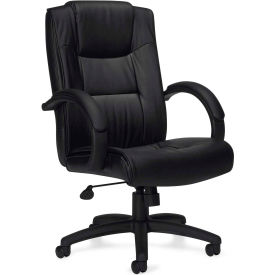 Offices To Go™ Luxhide Seating Executive Chair, Black Luxhide Upholstery