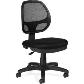 Offices To Go™ Mesh Armless Task Chair, Black Fabric Upholstery