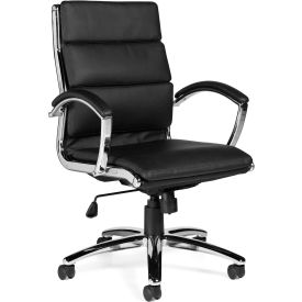 Offices To Go™ Luxhide Seating Segmented Cushion Chair, Black Luxhide Upholstery