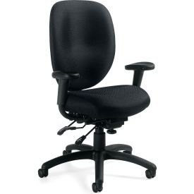Offices To Go™ Multi-Function Chair W/Arms, Black Fabric Upholstery